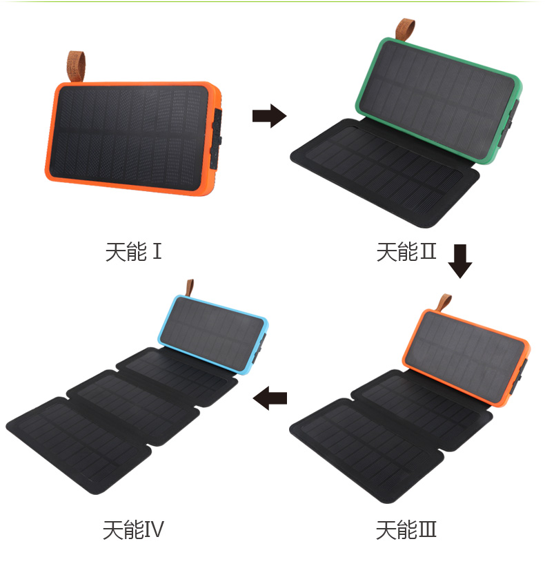 2017 New Design Foldable Solar Mobile Phone Power Bank with Lighter
