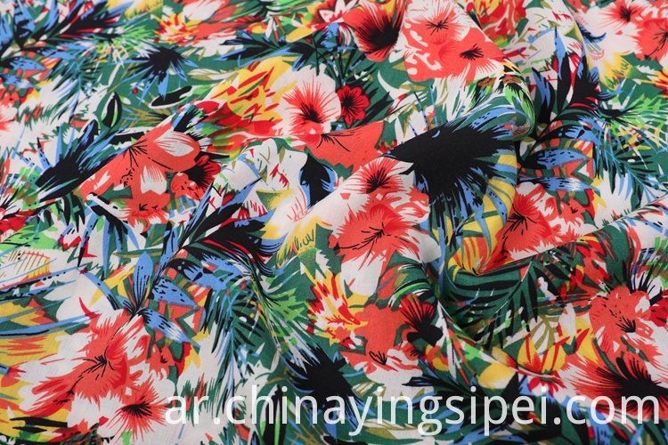 Soft Plain Dyed Rayon Floral Printed Voile
