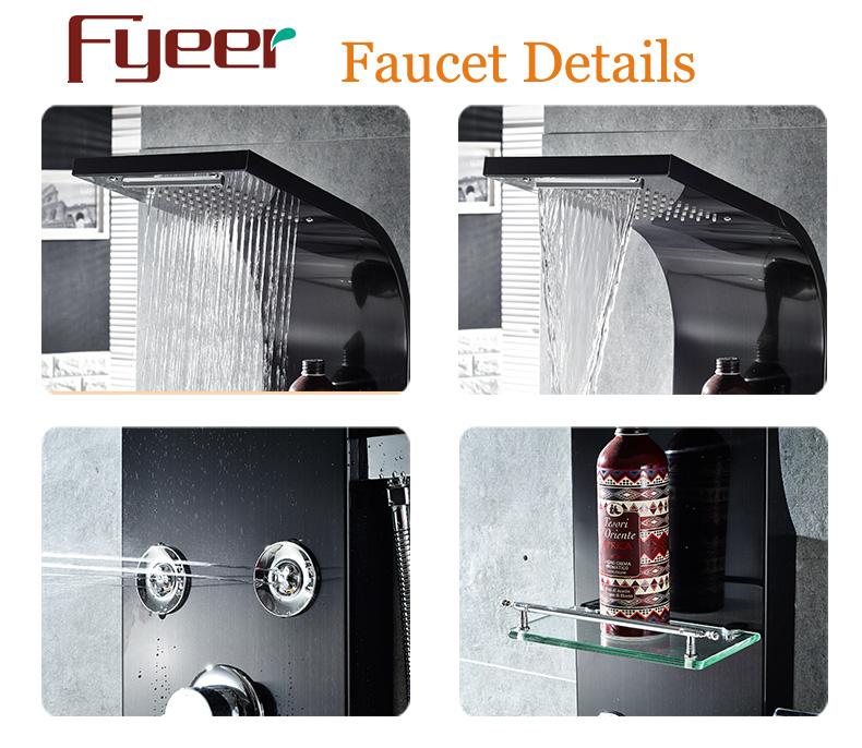 Fyeer High Quality Massage Rainfall Stainless Steel Black Shower Panel
