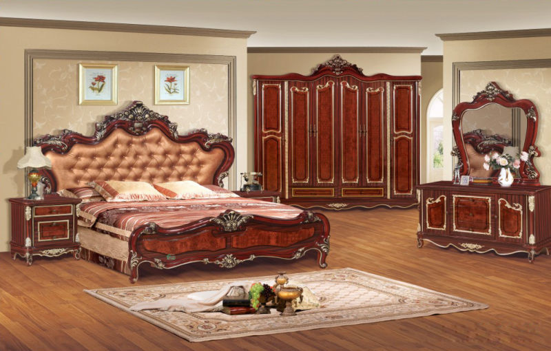 Home Furniture with Antique Bed and Chest and Wardrobe (W803B)