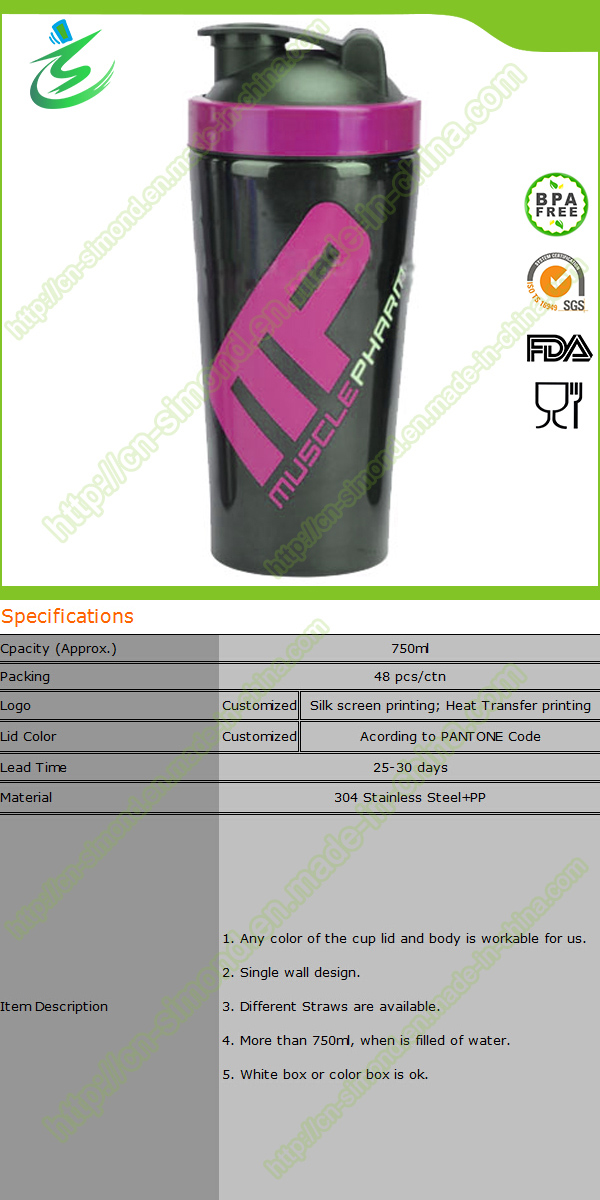 750 Ml BPA-Free Stainless Steel Protein Shakers (SS-A1)