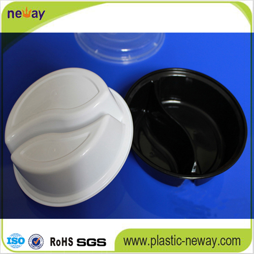 2 Compartments Round Microwaveable Plastic Disposable Lunch Box