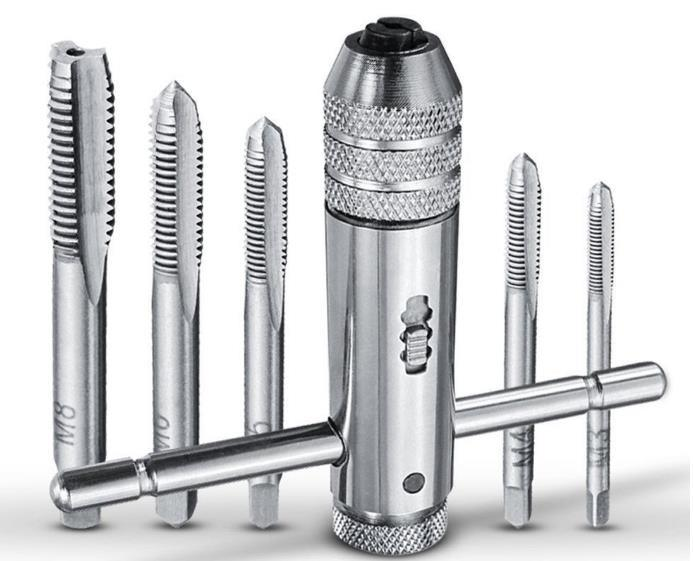 Регулируемая Т-образная рукоятка, держатель метчика с храповым механизмом, гаечный ключ, набор инструментов для нарезания резьбы