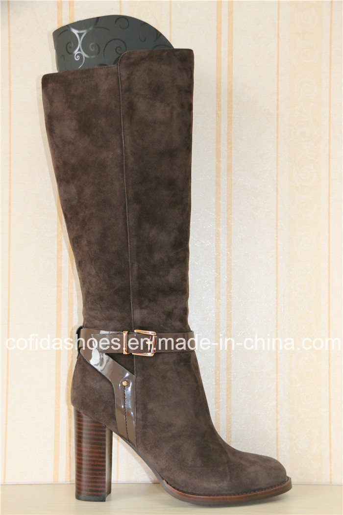Europe Trendy Comfort High Heel Lady Leather Warm Boots