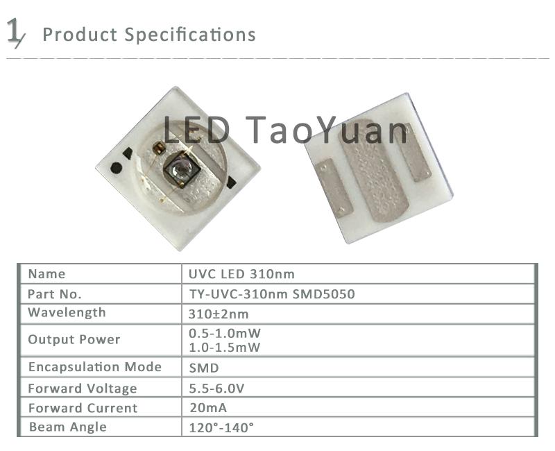 UV LED 310nm SMD 5050 Sterilization Water
