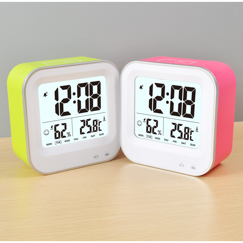 Rechargeable LCD Digital Clock with Temperature and Humidity
