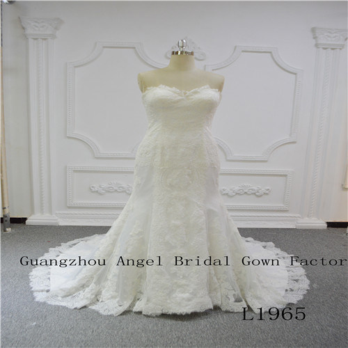 Charming Strapless with Lace Wedding Dress