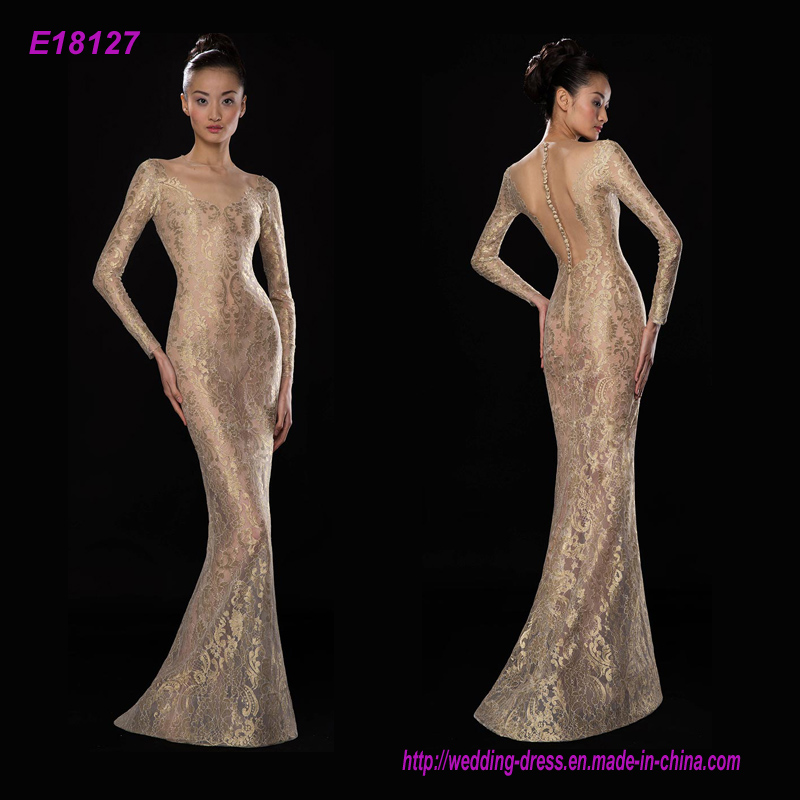 New Fashion Top Quality Transparent Gold Lace Long Sleeves Party Evening Dresses Floor Length Dress