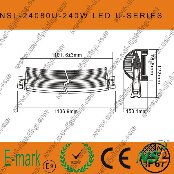 240W LED CREE Curved-U Light Bar off Road, Spot/Flood/Combo LED Light Bar off Road Driving