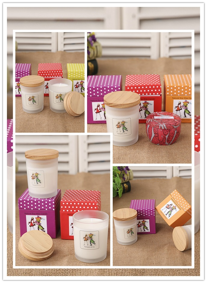 Luxury Scented Soy Wax Candle in Glass Jar with Gift Box
