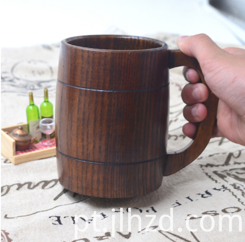 Handmade wood handle beer mug
