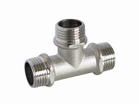 Tee F/F/M (Hz8212) of Screw Fittings with Brass Yellow Color or Nickle-Plated, or Polish and Chrome