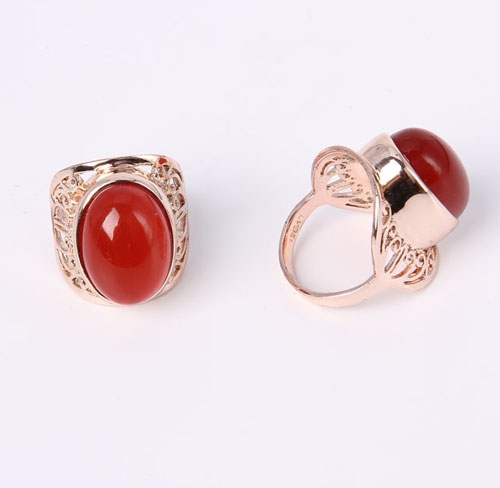 Tiger Head Design Fashion Jewelry Ring with Rhinestones Gold Plated