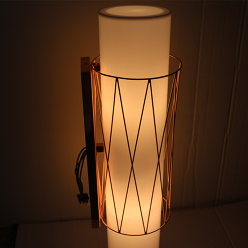 European Hotel Decorative Acrylic Cylinder Copper Bedside Wall Lamp