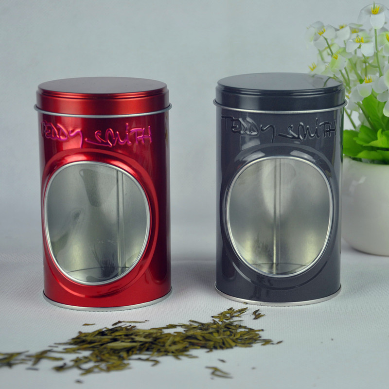 Custom Round Tea Tin Box with PVC Window China Supplier