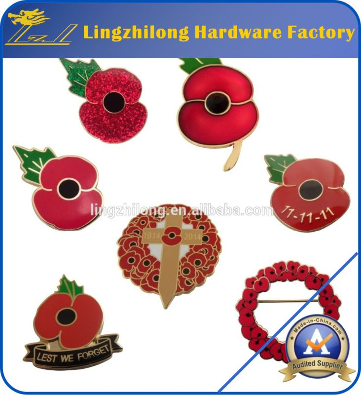 Remembrance Day Lone Soldier Poppy Pin Badge