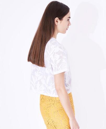 Summer Elegant Pure Jacquard Plant Short Round Neck Ladies T-Shirt