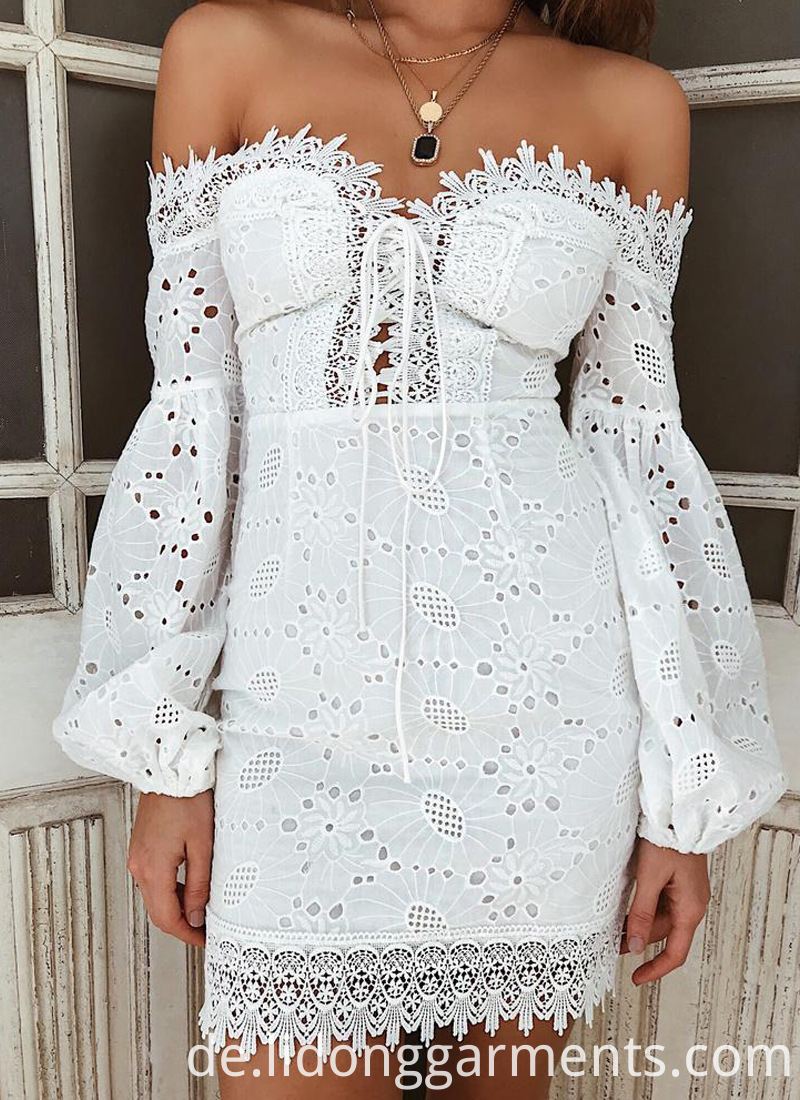 White Lace Embroidery Mini Dress