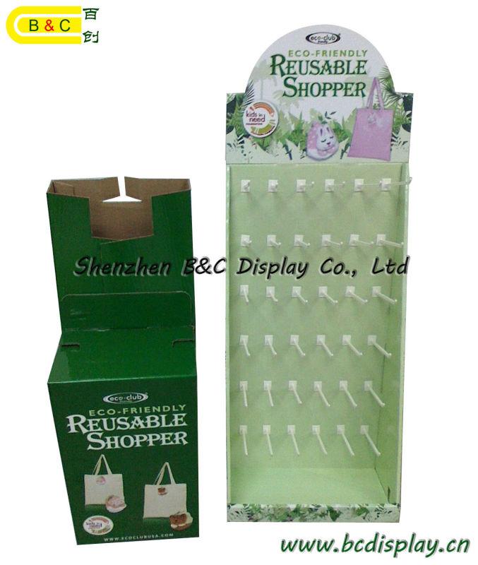 Shopping Paper Hooks Display, Cardboard Hooks Display Stand, Gift Box, Paper Dump Bin (B&C-B001)