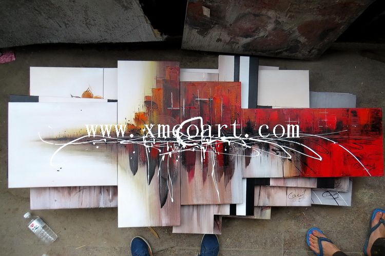 Stretched Group Building Oil Painting