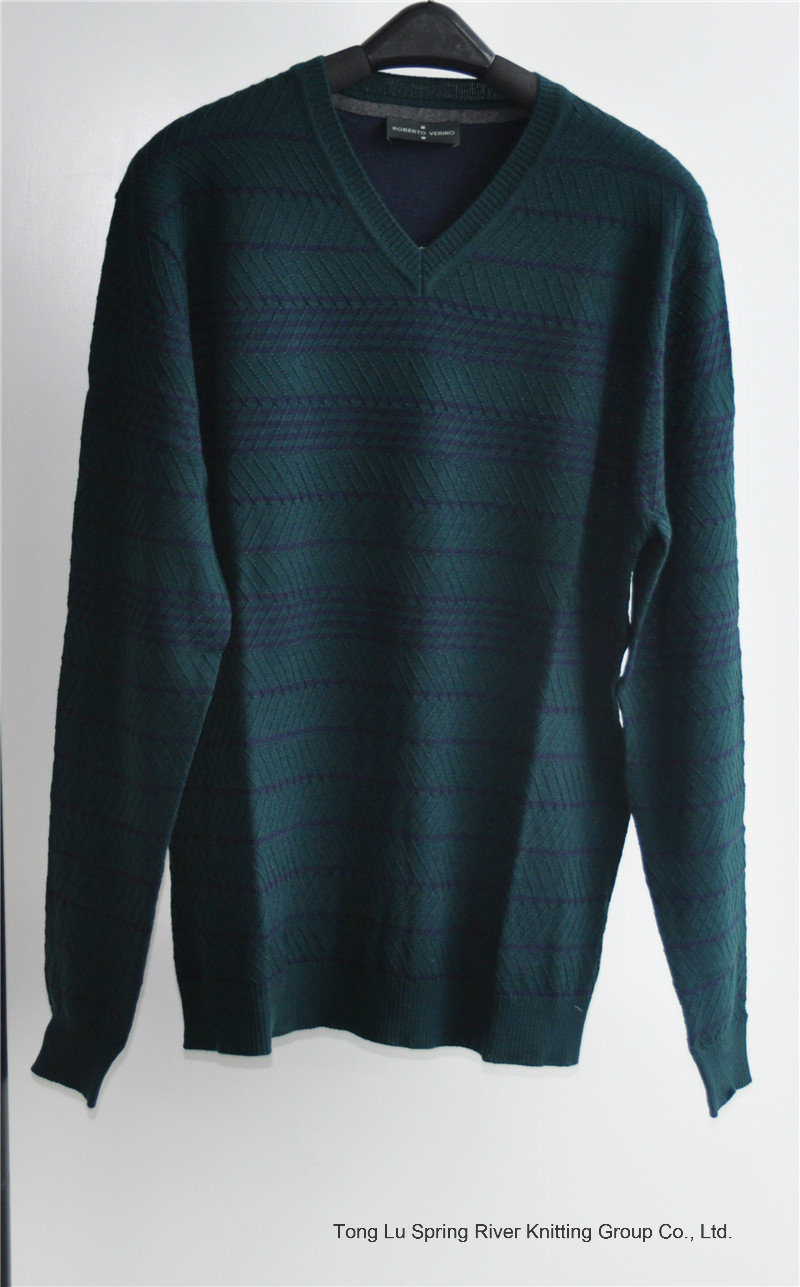 Patterned V-Neck Knit Pullover Sweater for Men