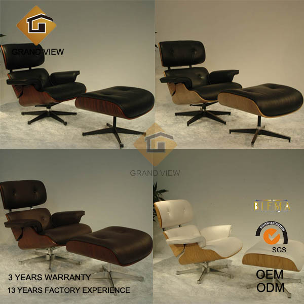 Classical Design Wooden Leather Chaise Lounge Chair (GV-EA670)