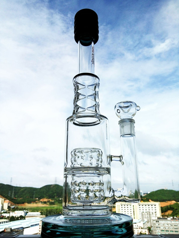 Newest Design 16 Inch Height Funnel Recycler Glass Smoking Water Pipe
