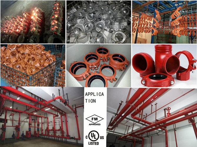 FM UL Grooved Fittings Reducing Cross for Fire System