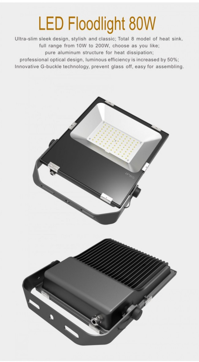 Ce RoHS 80W SMD Floodlight LED Outdoor Lighting 9000lm