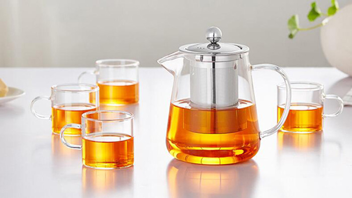 450ml/600ml Mini Glass Teapot with Stainless Steel Infusion for Wholesaler