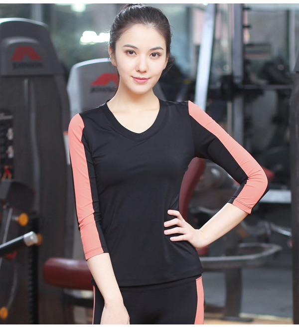 Women 85spandex+15nylon fitness Plain V Neck Contrast Color 3/4 Sleeve Tshirt Sport Wear