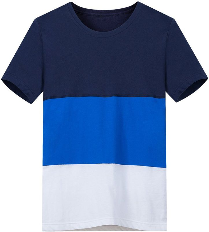 Men's Casual Customized Three Color Contrast T Shirt