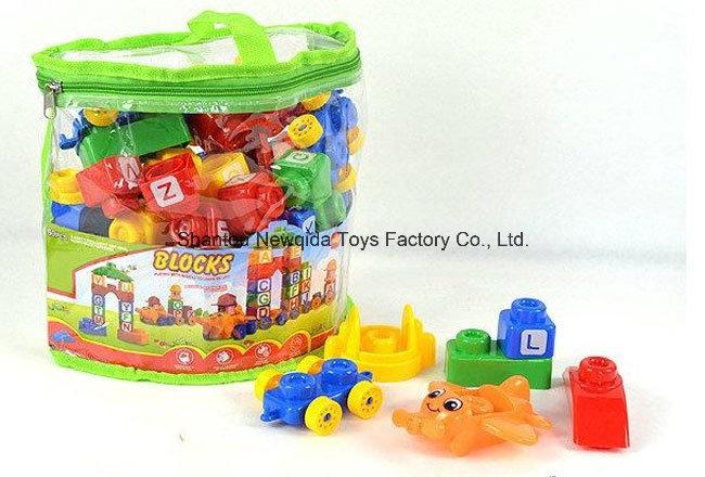 a Bag of Plastic Letter Number Learning Building Blocks Toys