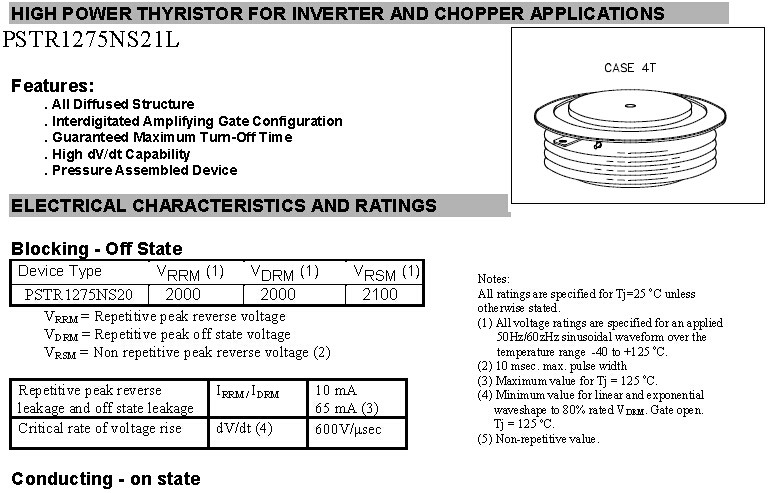 High Power Thyristor Inverter