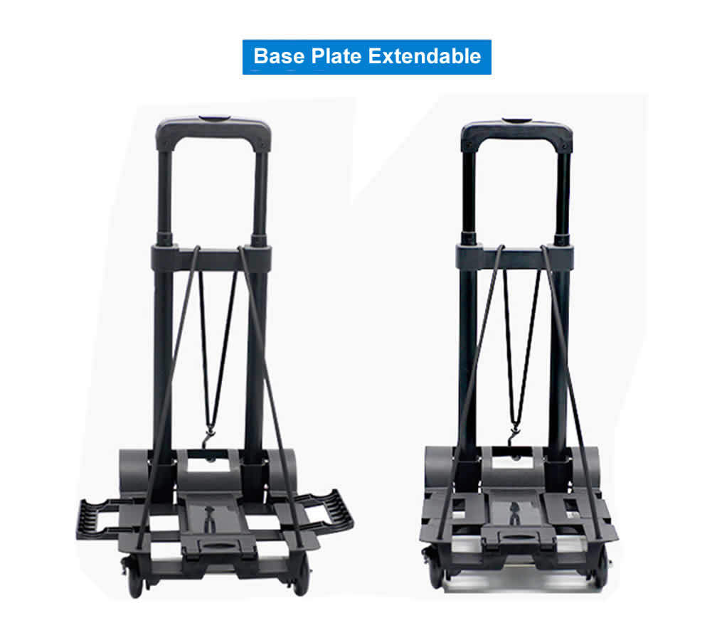 4 Wheels Mini Foldable Trolley Hand Truck Aluminum Alloy Dolly Portable Cart for Home Office Shopping Travel Use Compact Light Weight