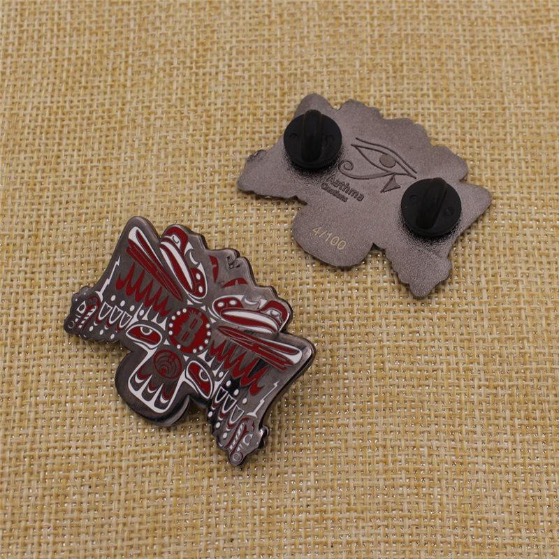 Custom Shape Round Metal Hard Enamel Badge Collar Pin