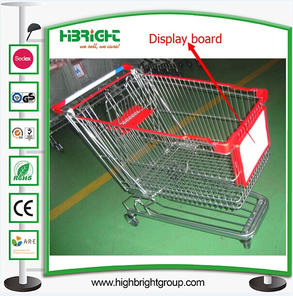Supermarket Shopping Cart with Trolley Display Advertising Board