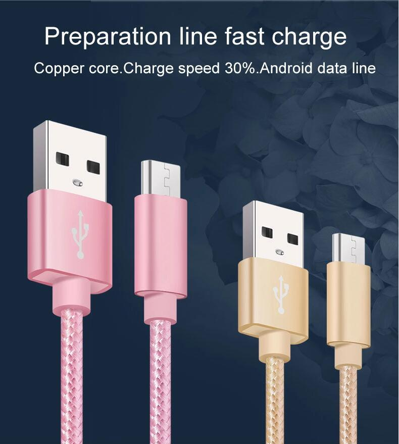 Colorful Fast Charging Charger for Mobile Phone Sync Data Type 5 Pin Micro USB Cable
