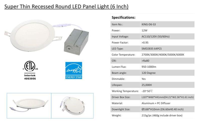 ETL 6 Inch 12W Round LED Panel