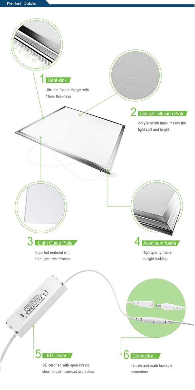 Ce/RoHS Super Thin 600*600 LED Panel Lighting
