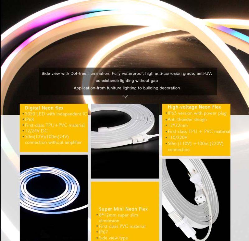 DOT-Free Illumination 3014 IP67 Mini Side View 8mm 5mm LED Neon Flex