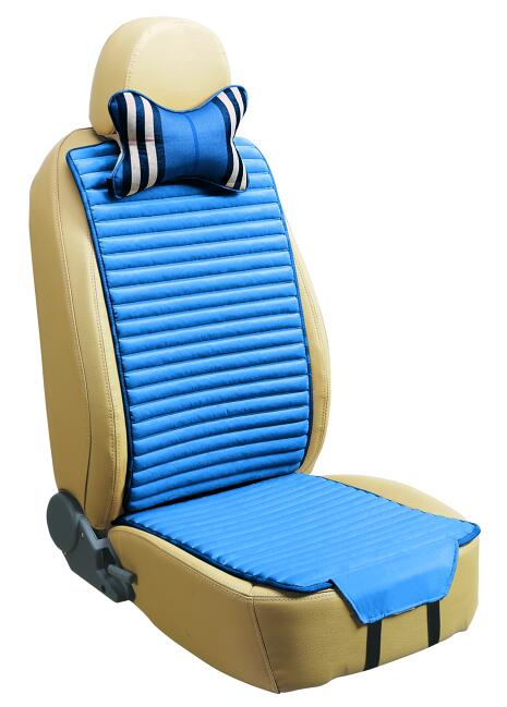 Checked Linen and Velvet Car Seat Cover Double Sides Use-Blue