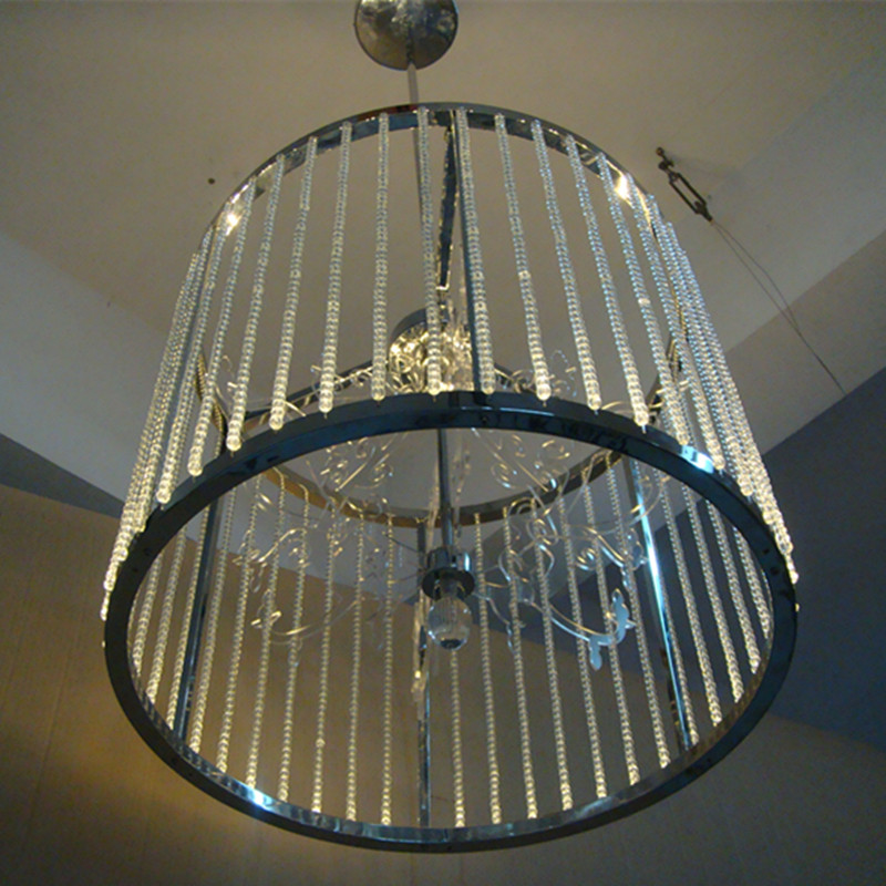 Modern Hotel Decorative Stainless Steel Cylindrical Crystal Pendant Lamp
