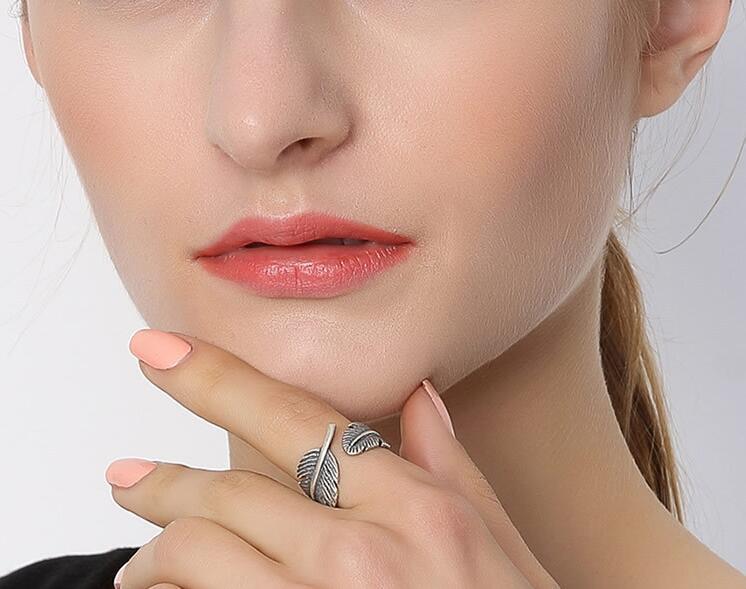 Fashion Silver Jewellery Male Ring Sharp Leaf Modelling Retro Silver Color Half Open