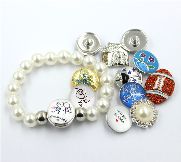 Factory Price Fake Pearl Bracelet with Snap Button Jewelry