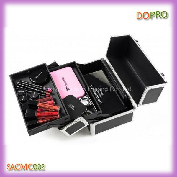 Solid Black Matt PU Leather Cosmetic Case Professional (SACMC002)