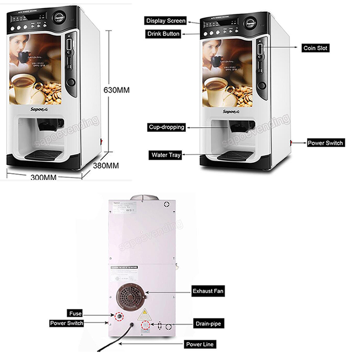 Coffee Vending Machine for Commercial Use with Coin Recognizer Sc-8703b