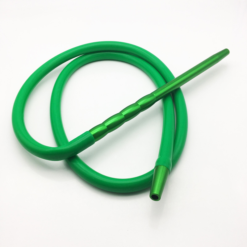 2m Green Silicone Shisha Hookah Hose with Metal Mouthpiece (ES-HH-016-2)