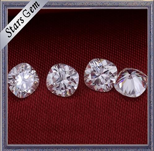 Wholesale Forever One Cushion Shape Diamond Cut Pure White Moissanite Stones for Ring