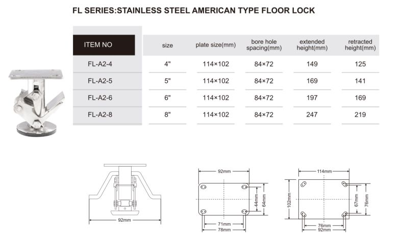 Stainless Steel Floor Lock for Hand Trolley Casters America Type